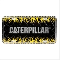 Caterpillar CAT Diamond Plated Flames License Plate-FREE SHIPPING