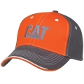 CAT Caterpillar Charcoal Gray and Orange Cap