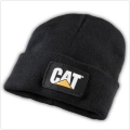 Caterpillar CAT Black Knit Cuff Winter Trucker Patch Beanie Cap