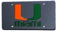 Miami Hurricanes Laser Cut Black License Plate