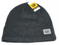 Caterpillar CAT Dark Gray Faux Leather Patch Winter Beanie Cap