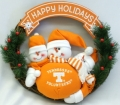 "Tennessee Volunteers 20"" Three Snowmen Football Family Wreath"