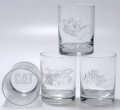 Caterpillar CAT Machines Satin Etched 13.5 oz Drinking Glass Set
