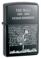 "Zippo ""The Wall"" Vietnam Memorial Black Ice Finish Lighter - Standard Issue Series"