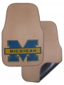 "Michigan Wolverines 2pc ""Blue M"" Beige Universal Car Floor Mats"