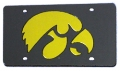 Iowa Hawkeyes Black Laser Cut/Mirrored License Plate