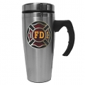 Stainless Steel Firefighter Logo Travel Mug