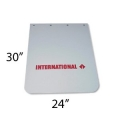 "International Semi-Truck Logo 24"" x  30"" White Polyurethane Mud Flaps"