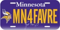 "Minnesota Vikings Brett Favre ""MV4FAVRE"" License Plate"