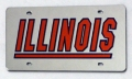 Illinois Fighting Illini Silver Laser Cut/Mirrored License Plate