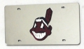 Cleveland Indians Laser Cut/Mirrored Silver License Plate