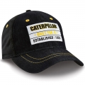 Caterpillar CAT Black Denim Patch Cap
