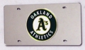 Oakland Athletics Laser Cut/Mirrored Silver License Plate