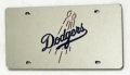 Los Angeles Dodgers Laser Cut/Mirrored Silver License Plate