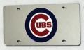 Chicago Cubs Laser Cut/Mirrored Silver License Plate