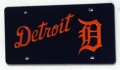 Detroit Tigers Laser Cut/Mirrored Blue License Plate