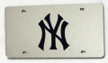 New York Yankees Laser Cut/Mirrored Silver License Plate