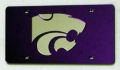 Kansas State Wildcats Purple Laser Cut License Plate