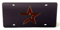 Houston Astros Laser Cut/Mirrored Black License Plate
