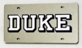 Duke Blue Devils Silver Laser Cut License Plate