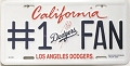 LA Dodgers #1 Fan Aluminum License Plate