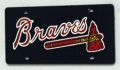 Atlanta Braves Laser Cut/Mirrored Navy License Plate