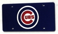 Chicago Cubs Laser Cut/Mirrored Blue License Plate