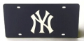 New York Yankees Laser Cut/Mirrored Blue License Plate
