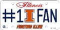 Illinois Fighting Illini #1 Fan Aluminum License Plate