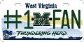 Marshall Thundering Herd #1 Fan Aluminum License Plate