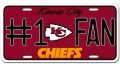 Kansas City Chiefs #1 Fan Aluminum License Plate
