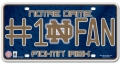 Notre Dame Fighting Irish #1 Fan Aluminum License Plate
