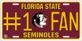 Florida State Seminoles #1 Fan Aluminum License Plate
