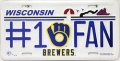 Milwaukee Brewers #1 Fan Aluminum License Plate
