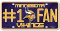 Minnesota Vikings #1 Fan Aluminum License Plate