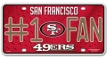 San Francisco 49ers #1 Fan Aluminum License Plate
