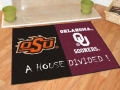 Oklahoma State Cowboys vs Oklahoma Sooners House Divided Floor Runner Mat/Rug