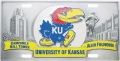 Kansas Jayhawks NCAA 3D Pewter License Plate