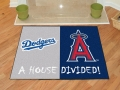 Los Angeles Dodgers vs Anaheim Angels House Divided Floor Rug