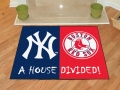 New York Yankees vs Boston Red Sox House Divided Floor Rug