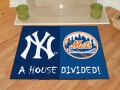 New York Yankees vs New York Mets House Divided Floor Rug