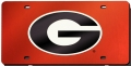 Georgia Bulldogs Red Laser Cut/Mirrored License Plate