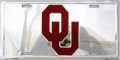 Oklahoma Sooners Chrome Aluminum License Plate