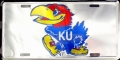 Kansas Jayhawks Chrome Aluminum License Plate