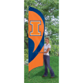 "Illinois Fighting Illini NCAA Applique & Embroidered 102"" x 30"" Tall Team Flag"