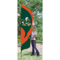 "Miami Hurricanes NCAA Applique & Embroidered 102"" x 30"" Tall Team Flag"