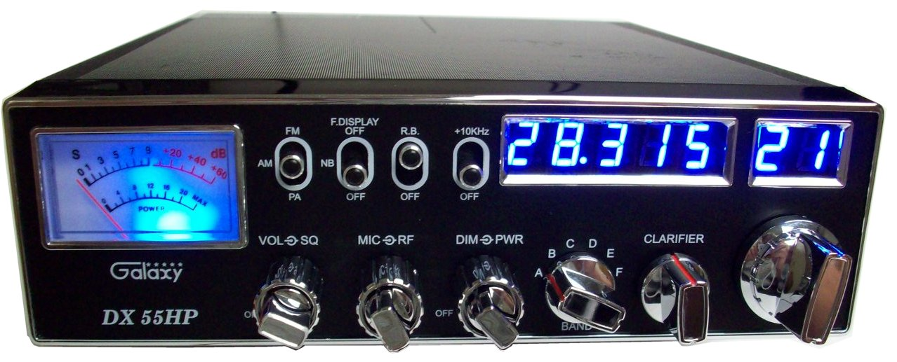 Galaxy DX-55HP Dual Mosfet High Power 10 Meter Radio with Blue Lighted Face