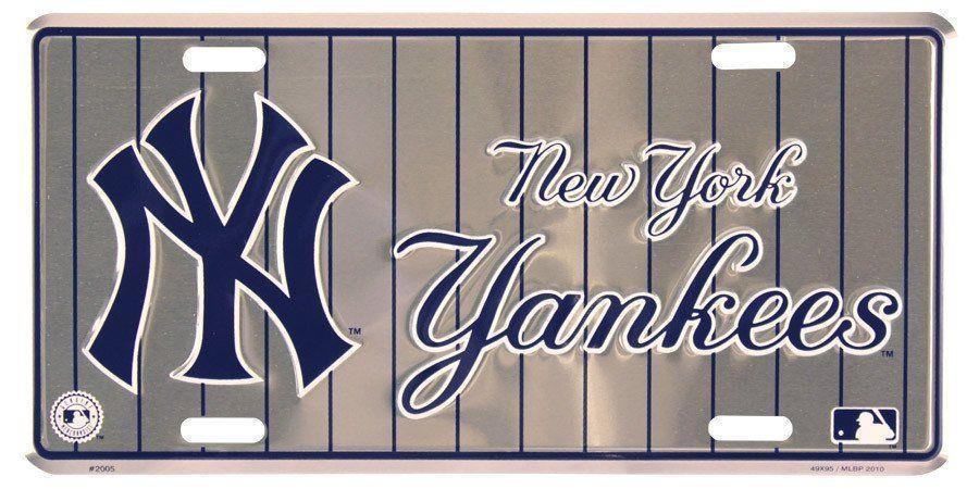 New York Yankees Chrome Frame Metal License Plate Tag Cover Baseball
