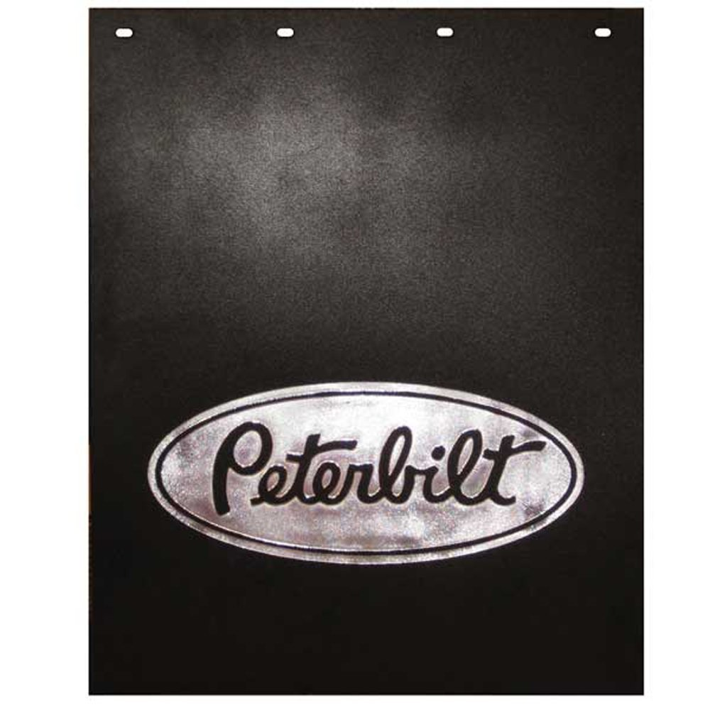 Semi Truck Mud Flaps >> Peterbilt Motors 24 X 30 Black Silver Poly Semi Truck Mud Flaps Pair