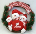 "Wisconsin Badgers 20"" Three Snowmen Football Family Wreath"